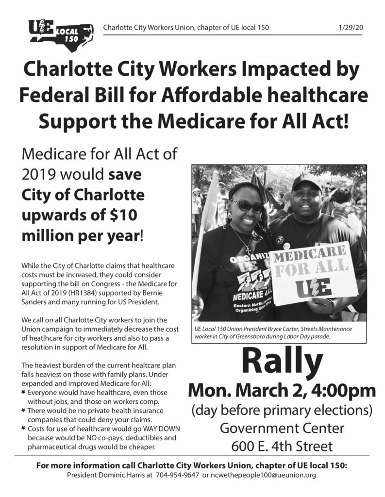 """Charlotte City Workers Union's Newsletter (March 2020) article titled - """"Charlotte City Workers Support Medicare for All"""""""