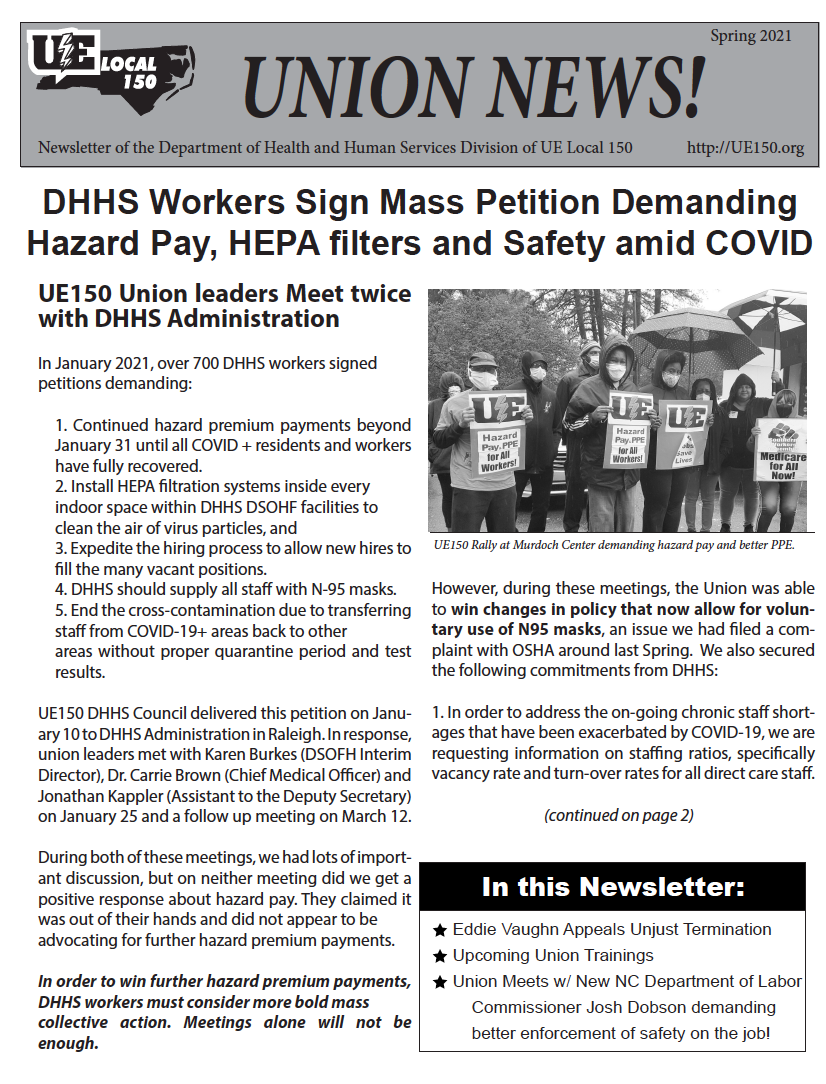 DHHS Workers Spring 2021 Newsletter