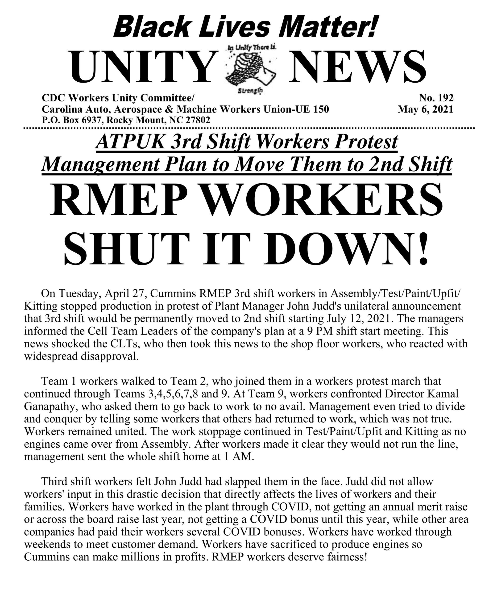 RMEP Workers Shut It Down!